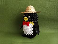 3D Penguin (OrigamiSunshine) Tags: hat paper penguin origami paperfolding 3dorigami origamisunshine