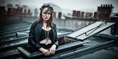 Under the Rain III (Camille Marotte) Tags: roof chimney urban woman paris rooftop wet girl beauty rain leather fashion metal architecture canon vintage 50mm glasses model redhead jacket rainy aviator magdalena korpas 2013 1dc camillemarotte