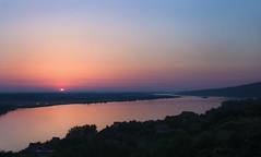Sunrise in Danube (Fica_bg) Tags: bridge sunrise danube river sun serbia