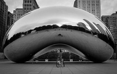 Biker Under the Bean (Jesse M Lynch) Tags: chicago cloudgate