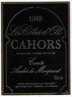 23 Les Côtes d'Olt. Comte André de Monpezat. 1988