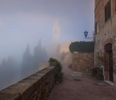 Pienza on a foggy morning (wolffslicht) Tags: italien italy fog landscape italia cityscape nebel tuscany pienza nebbia outoor toskana