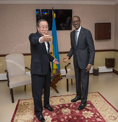 President Kagame meets with Ban Ki-moon, Secretary-General of the United Nations on the sidelines of African Union Summit | Kigali, 15 July 2016 (Paul Kagame) Tags: kagame bankimoon rwanda au summit africa un african union kigali