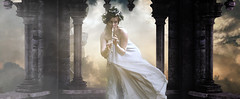 Euterpe: Giver of Delight (Alexandra A. Ryan) Tags: woman female greek roman temple castle flute fairytale rome greece muse goddess white bright flowercrown astrology euterpe misty surreal italy manipulation photomanipulation ancient ancientrome ancientgreece fashion model beauty portrait editorial fashioneditorial