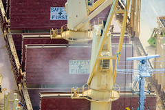 "Giant ""Safety First"" sign (Chris Hacking) Tags: newzealand port nz napier aviator rigging majuro unloading cargoship loadingcrane aoteroa woodpulp imo9363754 safetyfirstwarningsign"
