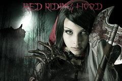 Red riding hood (Lus Louro) Tags: red riding hood girl forest dark moon wolf woman experimental art digital axe weapon
