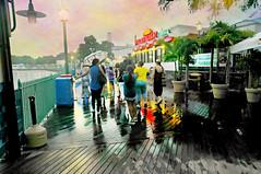 Raining at the Tiki Bar (floralgal) Tags: ryeplayland ryenewyork tikibarryeplayland rainingatryebeach ryebeachpear thetikibarryenewyork playlandpier longislandsound painterlylandscape ryenewyorklandscape