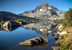 Banner Peak and Its Reflection in Thousand Island Lake (deanwampler) Tags: photomatix sierras bannerpeak thousandislandlake anseladamswilderness jmt johnmuirtrail