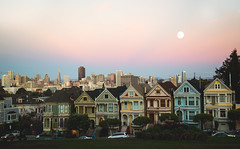 painted ladies (JuanCarViLo) Tags: san francisco california house moon skyline sunset skyscrapper