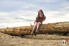 _MG_9589 (Deadly Darling DP) Tags: beach sand nature outdoors dreadlocks gothic goth woman chick tattoos makeup log driftwood tree