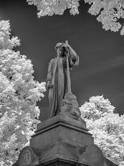 P9050333 - EdgeWood Cemetery (Syed HJ) Tags: olympusomdem5 olympusem5 olympus em5 olympusmzuikodigitaled1442mmf3556iir olympusmzuiko1442mmf3556 olympus1442mmf3556 olympus1442mm 1442mm infrared 950nm blackandwhite blackwhite bw edgewoodcemeterynashuanh edgewoodcemetery nashuanh cemetery nashua nh statue