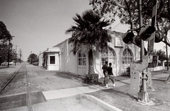 Exa 1C Rialto PE Station 1 () Tags: vintage retro classic film camera losangeles california riverside history west coast architcture eastgerman ddr gdr exa dresden slr 35mm black white bw kodak tmax m42