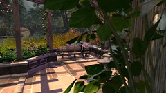 Contemplation (alexandriabrangwin) Tags: alexandriabrangwin secondlife 3d cgi computer graphics virtual world photography calas galendon park nature sim bench gazebo sitting quiet reflection garden ivy flowers trees bushes sunny day midday tiled courtyard shiny black leather pants jacket