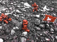 Resting Near the River (The Spar7an) Tags: halo military megabloks outdoors lego blackandwhite red