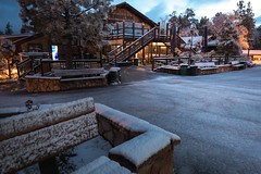 Fresh Dusting of Snow on the base area at Snow Summit in Big Bear Lake, Claifornia.