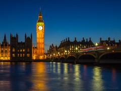 Westminster Twilight (RobertCross1 (off and on)) Tags: uk longexposure bridge england urban london westminster thames architecture river landscape twilight europe cityscape britain parliament olympus lighttrails bluehour omd em5 20mmf17panasonic