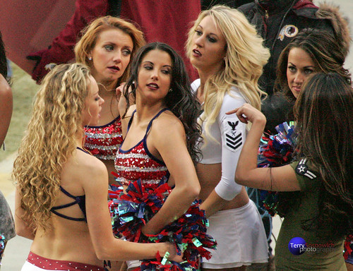 Redskinette Cheerleaders Rachel K., Meag, Jade, Jennifer Maigan and Masako getting ready to perform.