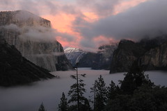 Two years ago (kim mensinger) Tags: california park sunset news fall water beauty fog fire death climb waterfall national yosemite halfdome elcapitan bridalveilfalls capitan