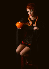 Cast a Spell On You (ZoeJayW) Tags: fall halloween pumpkin october witch snake fantasy pinup