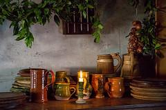 Tudor Christmas (There and back again) Tags: christmas table mugs candle tudor plates