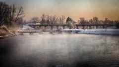 Two bridges (malioli) Tags: morning bridge winter mist snow tree water misty fog canon river landscape europe foggy croatia woodenbridge hdr pontoon cro hrvatska karlovac