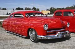 Rocket (~ Liberty Images) Tags: ohio red classiccar vintagecar automobile mercury flames pumpkinrun chrome grille oldcar lowrider carshow libertyimages