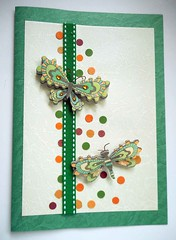 All-purpose handmade card 69 (tengds) Tags: orange brown green butterfly circles cream card ribbon papercraft handmadecard tengds allpurposecard