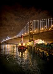 San Francisco Bay Bridge and SFFD Station 35 Fire Boat (Steve Siri) Tags: sanfrancisco night lights yahoo google nikon nightshot embarcadero sffd hdr bing fireboat siri noctornal nikond800 embarcaderopier siriimages siriimage stevesiri siriphoto