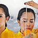 Philippines, Cebu PacificAir serious hostess at  pre-flight oxygen-mask  demonstration #PhiΙippines