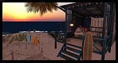 Baja Cove.....the day awaits :) (stormyseas11) Tags: world sea beach sunrise fence lights sand surf cove flag avatar rope deck palmtrees hut virtual cabana surfboard towels weathered baja lantern nautical bajanorte