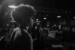 Soundcheck (elliotroper91) Tags: show light portrait bw white black silhouette dark hair fuji gig profile grain band curly mysterious fujifilm venue x100 x100t