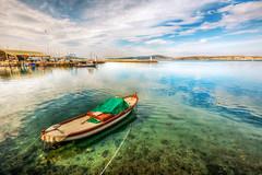 Ayvalk Harbour (Nejdet Duzen) Tags: trip travel sea reflection turkey boat harbour trkiye deniz sandal ege liman yansma turkei seyahat kayk ayvalk eagean
