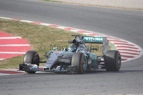 Nico Rosberg in the Mercedes in Formula One Winter Testing 2015
