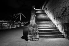 L'escalier (Nathalie Falq) Tags: france monochrome architecture eau lyon noiretblanc fujifilm paysage nuit escalier fleuve rhone passerelle rhonealpes presquîle poselongue paysageurbain quaidesaône formatpaysage saônefleuve xf1855mmf284rlmois fujifilmxt1