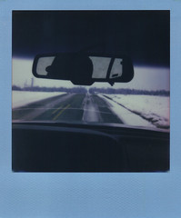 Nothing I can do now. (H o l l y.) Tags: road blue winter shadow snow film nature field car analog vintage project dark landscape polaroid drive mirror country retro frame indie instant impossible