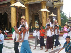 Ceremonial Circumnavigating of Shwedagon Before Entering Monkhood