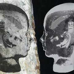 Opposing Views (Lemon~art) Tags: texture mannequin opposite head manipulation mirrorimage facetoface notblackandwhite opposingviews