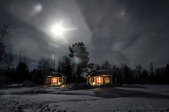 58-Moonlight_Cottages copy (Beverly Houwing) Tags: snow building night forest suomi finland frozen cloudy halo lapland moonlight kukkola bungalow birchtree kukkolankoski