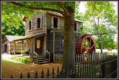 Grist Mill At Cannonsburgh Village (Jerry Jaynes) Tags: wedding history mill fence manchester village waterwheel gristmill timesgoneby tripodphotography nikkor1685vr spikefence manchestertnmemorialdayweekend2015 tnmemorialdayweekend2015