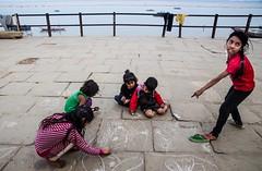 benaras kids (Priya Dey (PD)) Tags: people street benaras varanasi color red drawing kids nikond7000 india children csfk