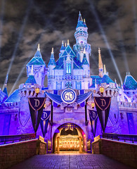 Partly Cloudy Castle (brosephotoz) Tags: sleepingbeautycastle disneyland night longexposure