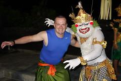 Chilling with the Man! (adamfrunski) Tags: bali uluwatu firedance performer me hanuman