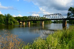 Some Day (Theresa*) Tags: bnsf railroad sky blue clouds water river rockriver oregon illinois nature