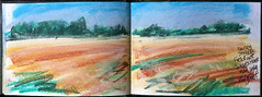Barley stubble at Sands House Farm (johnhumber48) Tags: sunkisland sketchbookpages sketchbook summer pastels pasteldrawing pleinair