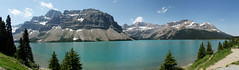 Bow Lake (Stefan Jrgensen) Tags: bowlake bowriver rockymountains canadianrockies canada alberta banffnationalpark icefieldsparkway lake mountains sky bluesky sony dslra700 a700 panorama