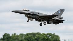 F-16C of the Hellenic Air Force's Demo Team Zeus landing at Fairford (DrAnthony88) Tags: f16demoteamzeus greekairforce lockheedmartinf16cblock52fightingfalcon modernmilitary nikkor200400f4gvrii nikond810 raffairford aircraft