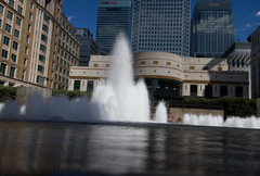 The Cut to the Thames August 2016 (22 of 42) (johnlinford) Tags: canarywharf canon canonefs1022 canoneos7d docklands fountain fountains london reflection reflections uk urban landscape