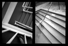 12 & 13 ~ stairs & pool diptych (LANCEPHOTO) Tags: fujicamini fuji kodak exx eastmandoublex labeauratoirefilm expiredfilm halfframe diptych blackwhite 35mmfilm caffenolconcoction caffenol labeauratoire abstract destijl film4life