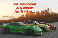 A German, an American, an Italian (DoctaM3) Tags: red mars green yellow austin twin huracan turbo bmw m3 viper rosso lamborghini personified v10 supercars srt stryker doctam3