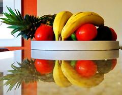 Twice the goodness! (peggyhr) Tags: red orange white green kitchen yellow reflections hawaii tomatoes bananas pineapple granite avocados 25faves granitecountertop peggyhr ♣theartisan dsc05069ab